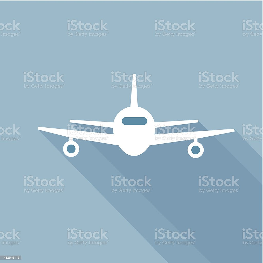 Flat long shadow air plane vector art illustration