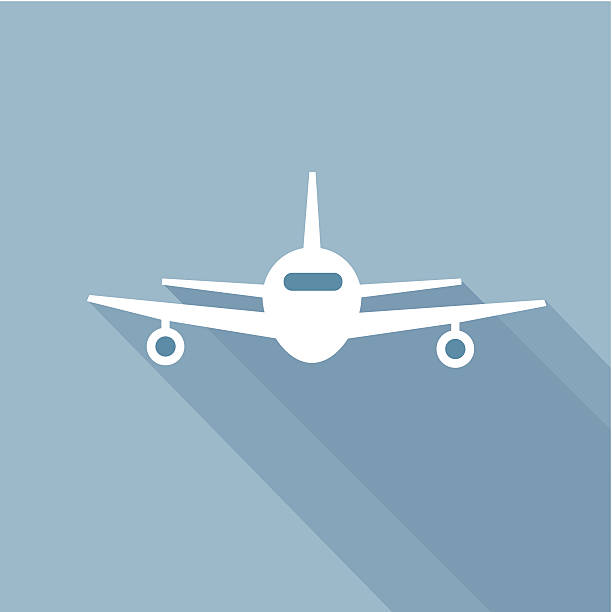 flat long shadow air plane - business travel stock illustrations, clip art, cartoons, & icons