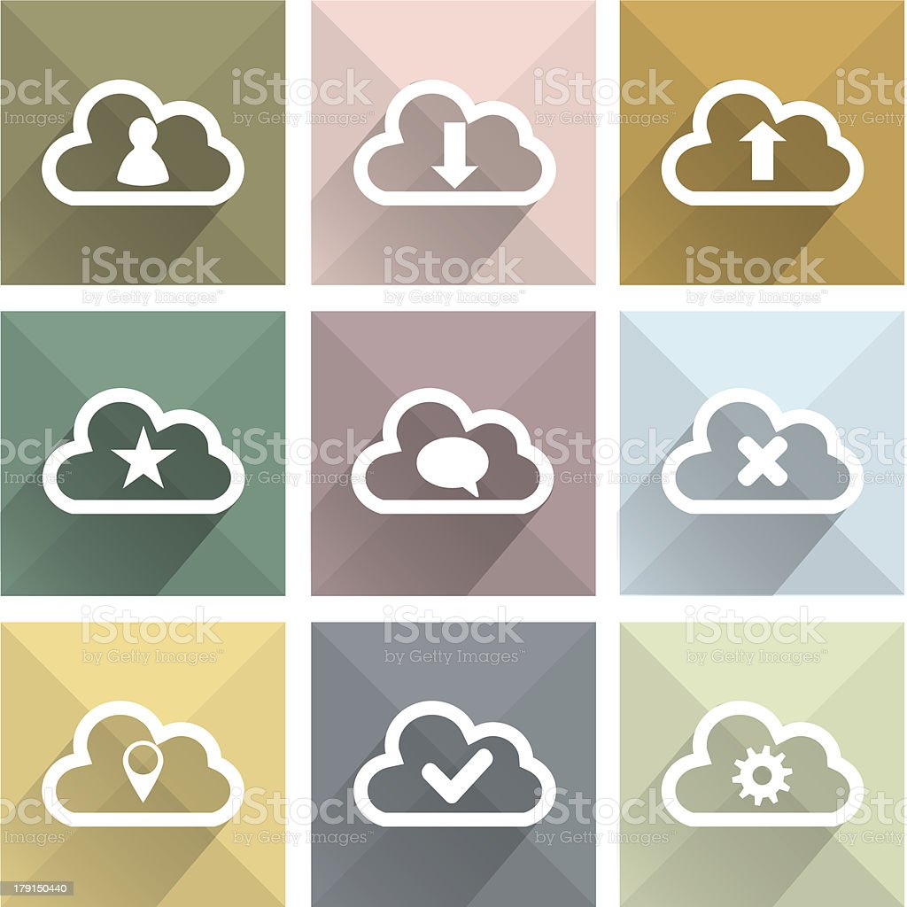 Flat long shadow cloud icons royalty-free stock vector art