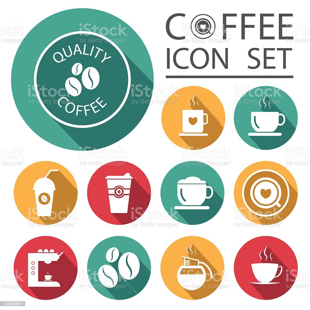Flat Long Shadow Coffee Icons with White Background vector art illustration