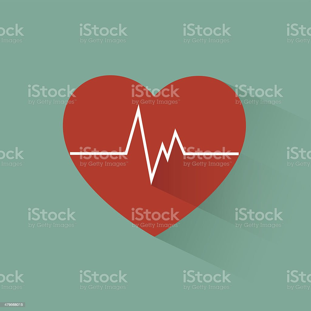 Flat long shadow heart beat vector art illustration