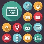 flat long shadow hotel icon set.Vector/Illustration.