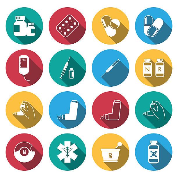 illustrations, cliparts, dessins animés et icônes de plat long ombre icônes de médecine et de pharmacie icônes définies. - pastille