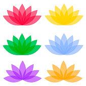Flat lotos flowers on color background. Blossom floral plant, vector illustration.
