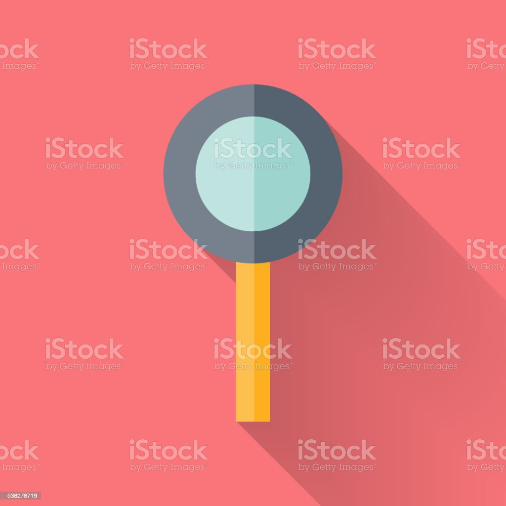 Flat loupe icon over pink vector art illustration