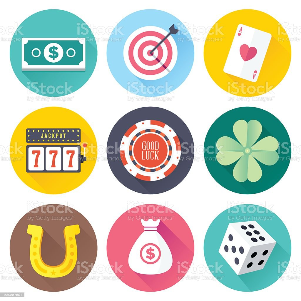 Flat Luck Icons vector art illustration