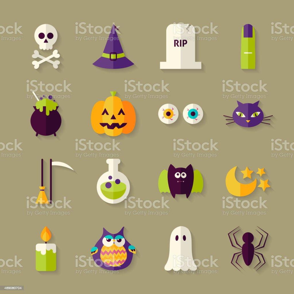 Ilustración de Magia Plana De Halloween Conjunto Con Sombra De ...