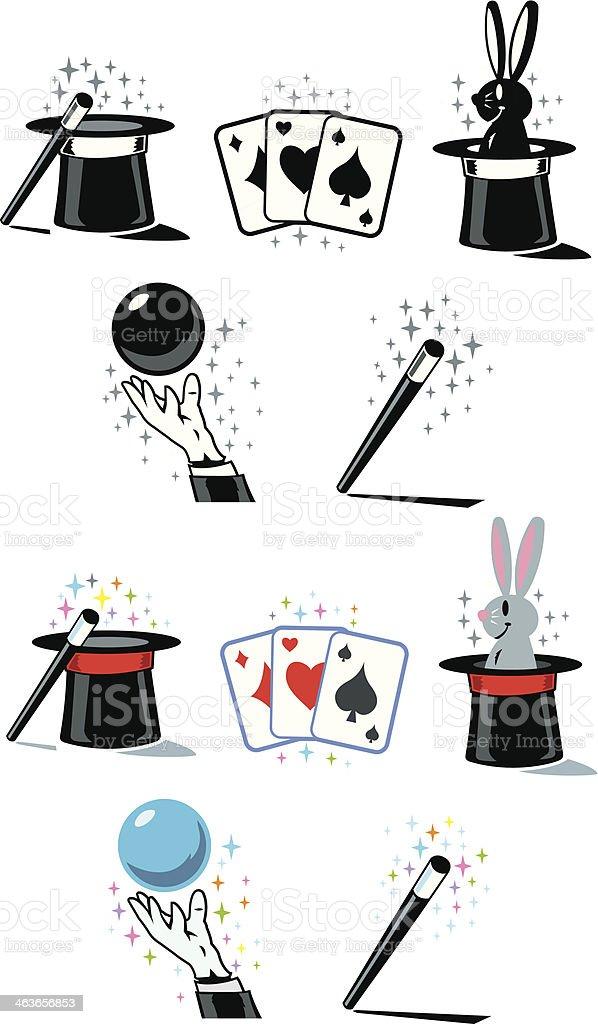 Flat Magician Icons vector art illustration