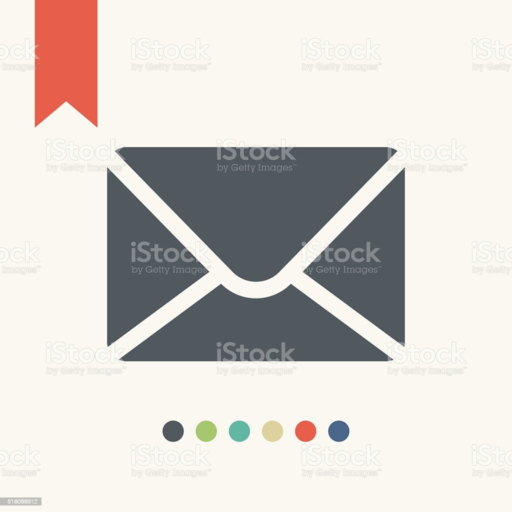 flat mail icon vector art illustration