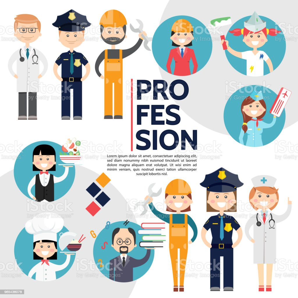 Flat Male And Female Professions Composition royalty-free flat male and female professions composition stock vector art & more images of adult