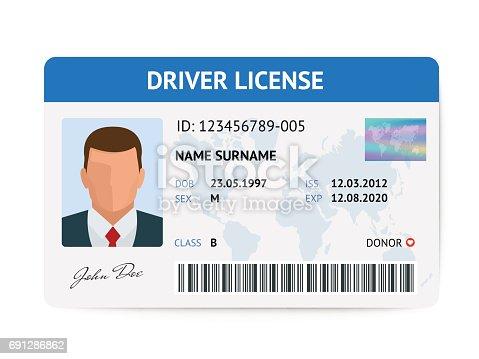 istock Flat man driver license plastic card template, id card vector illustration 691286862