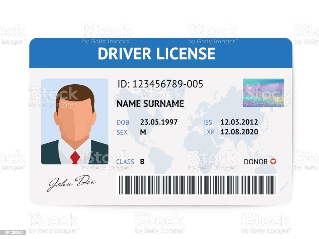 Plantilla de tarjeta de plástico licencia hombre plano conductor, Ilustración de vector de tarjeta de identificación - ilustración de arte vectorial