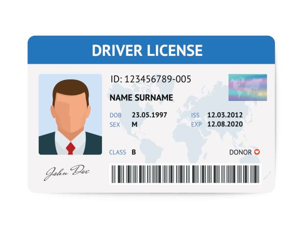 Flat man driver license plastic card template, id card vector illustration vector art illustration
