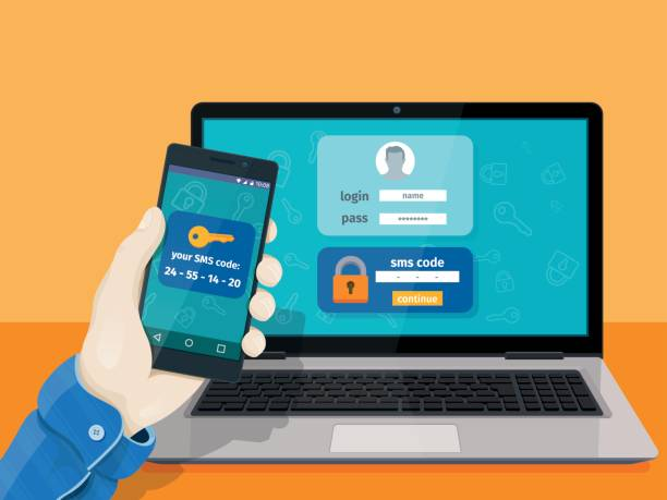 Flat man sitting at desktop and getting access to the website. 2-step authentication SMS code password concept. vector art illustration