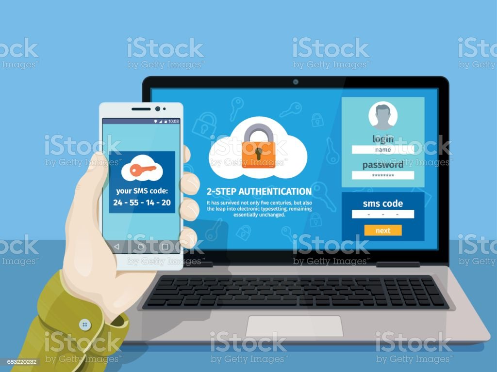 Flat man sitting at desktop and getting access to the website. Two steps authentication on computer. vector art illustration