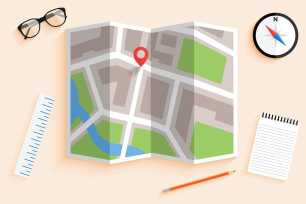 Flat map and compass vector art illustration
