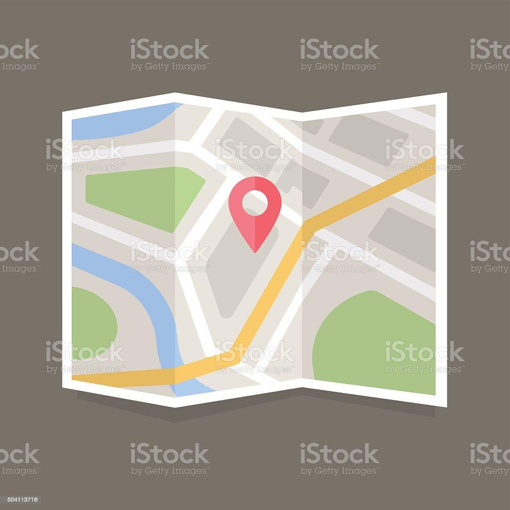 Flat Map Icon vector art illustration