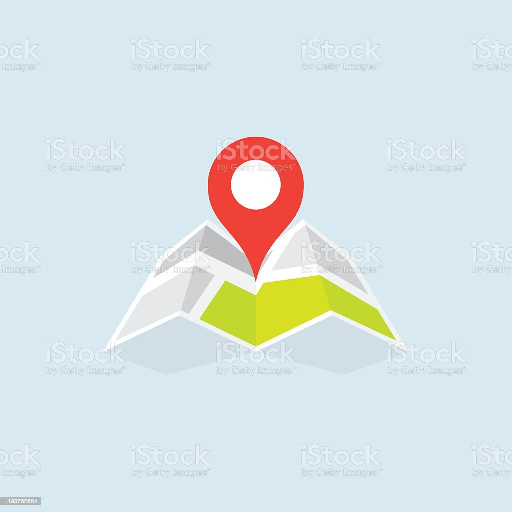 Flat Map Location Pointer Icon vector art illustration