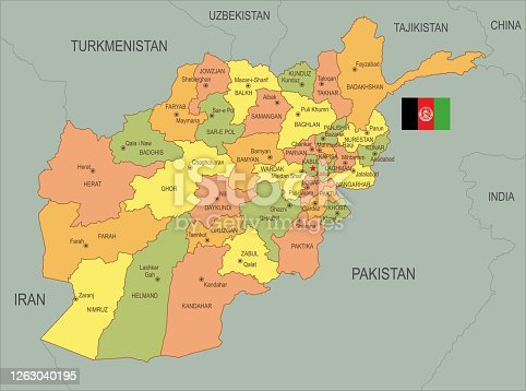 istock Flat map of Afghanistan  with flag 1263040195