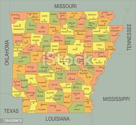 istock Flat map of Arkansas 1264005675