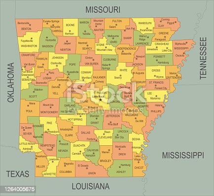istock Flat map of Arkansas 1264005675