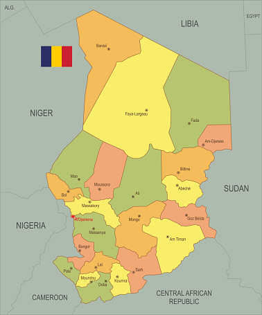 Flat map of Chad with flag