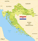 Flat map of Croatia with flag