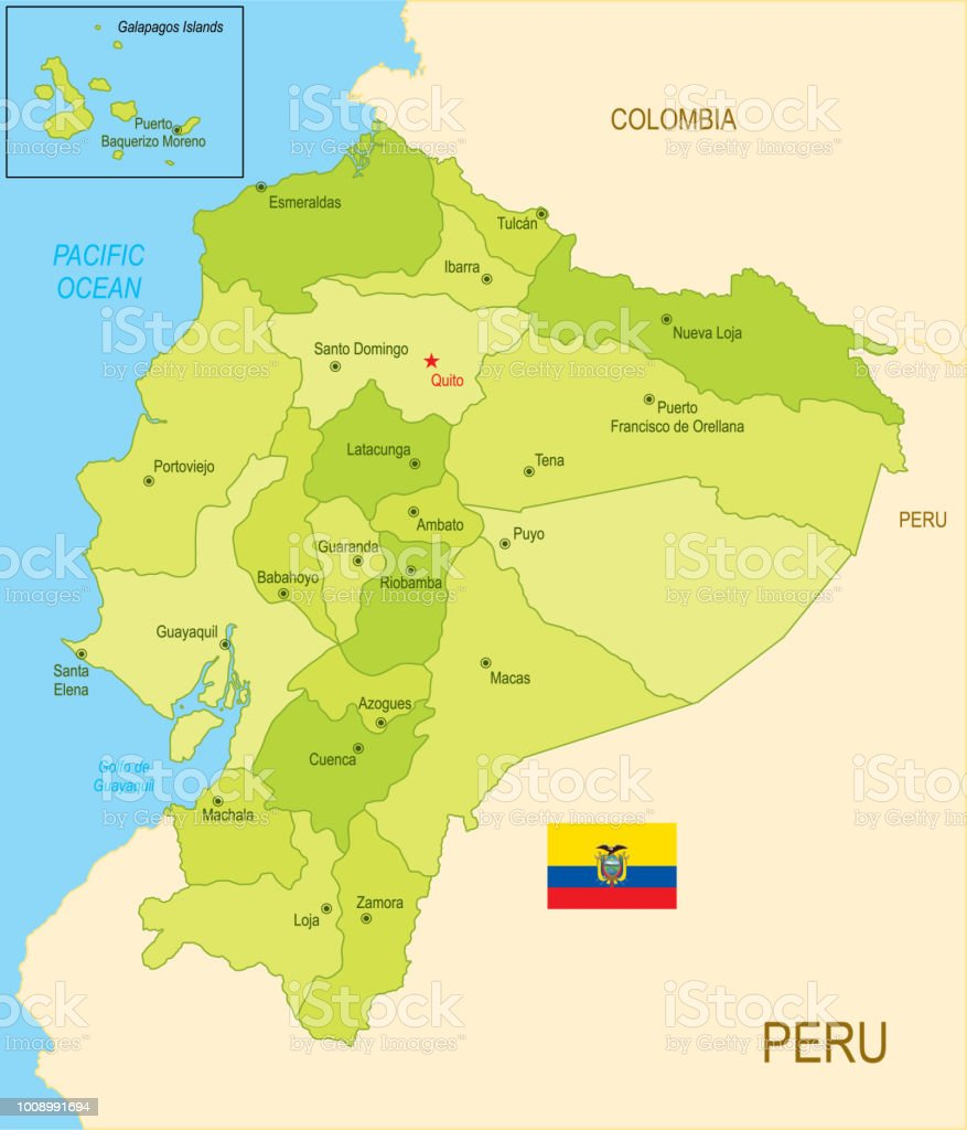 Mapa plano do Equador com bandeira - ilustração de arte em vetor