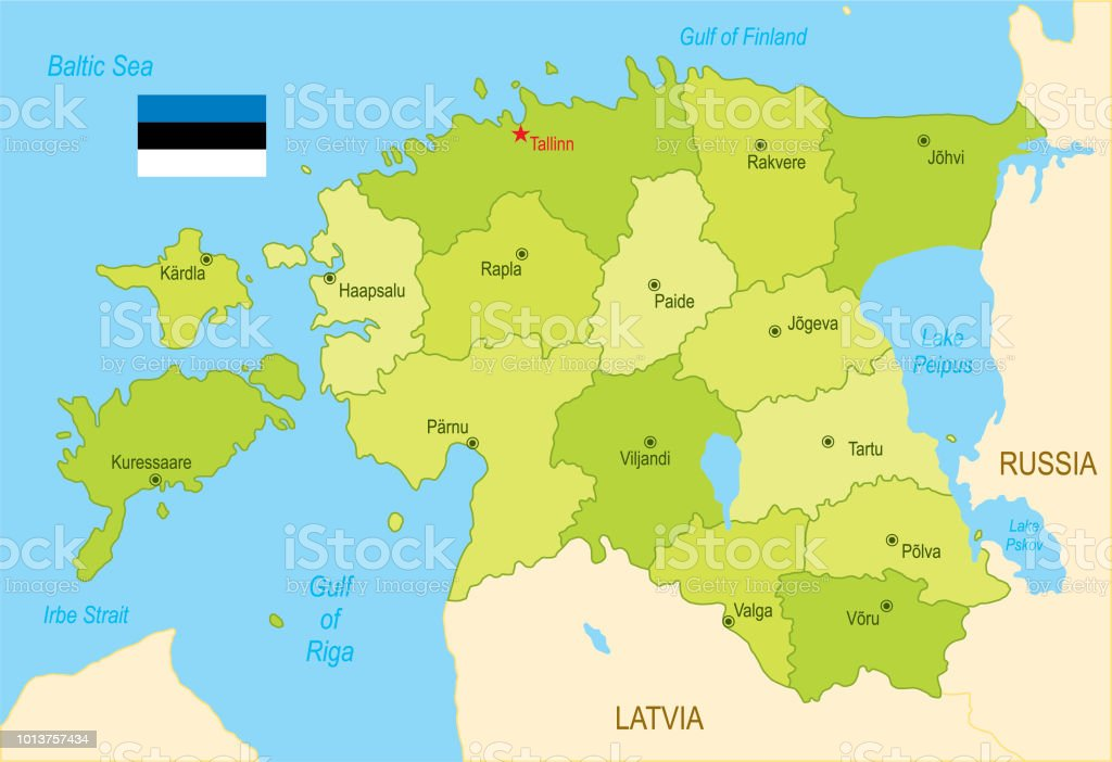 Flat Map Of Estonia With Flag Stock Vector Art & More Images of Blue ...