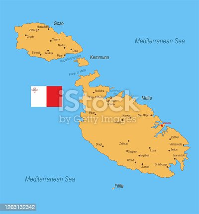 Detailed map of Malta with surroundings, provinces, capital and flag.