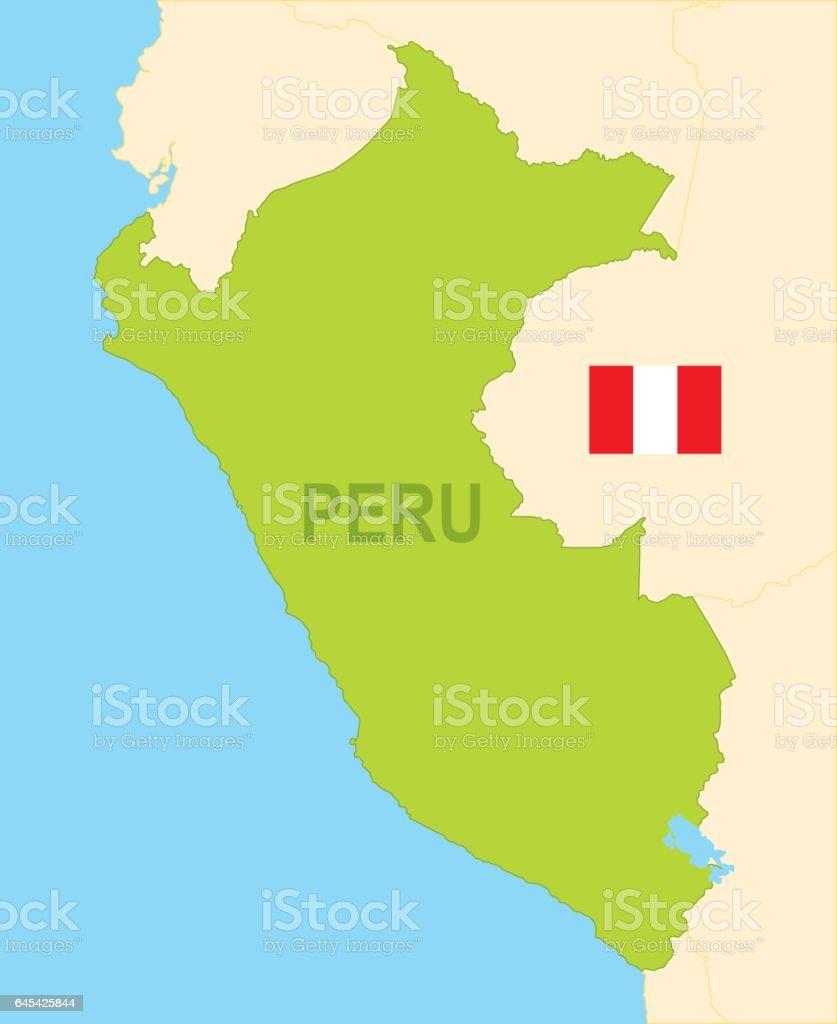 フラグとペルーの平らな地図 - ...