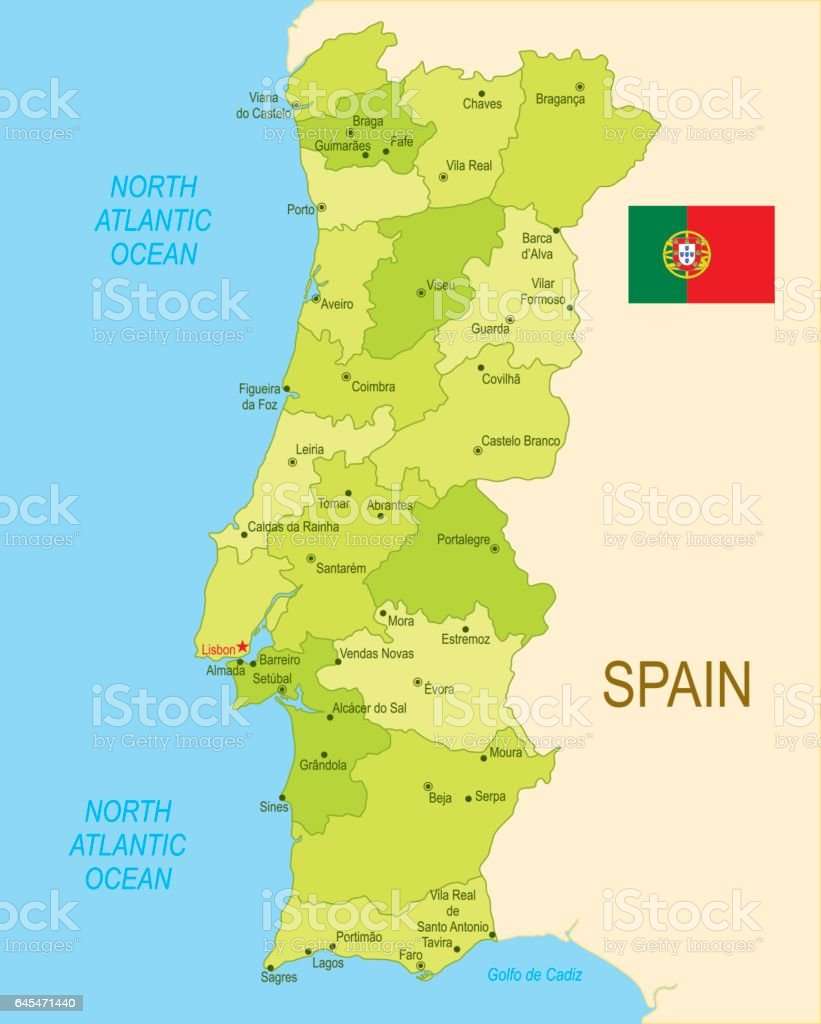 Flat Map Of Portugal With Flag Stock Vector Art IStock - Portugal beja map