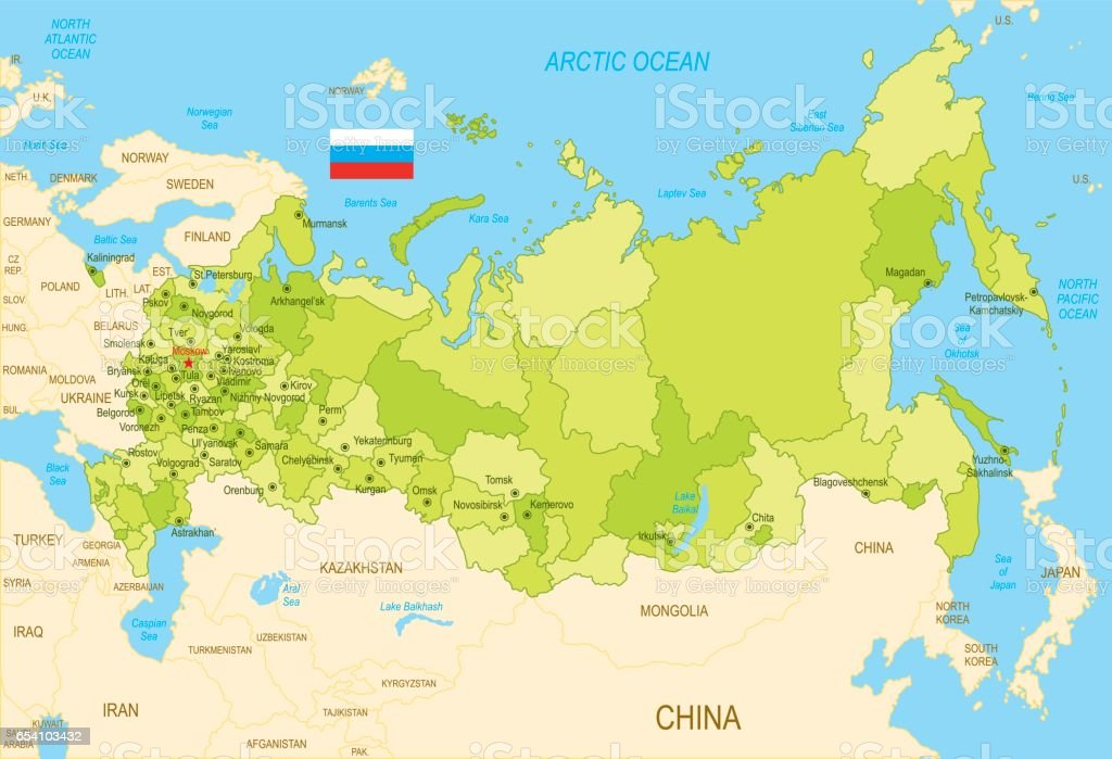 Flat Map Of Russia With Flag stock vector art 654103432 iStock