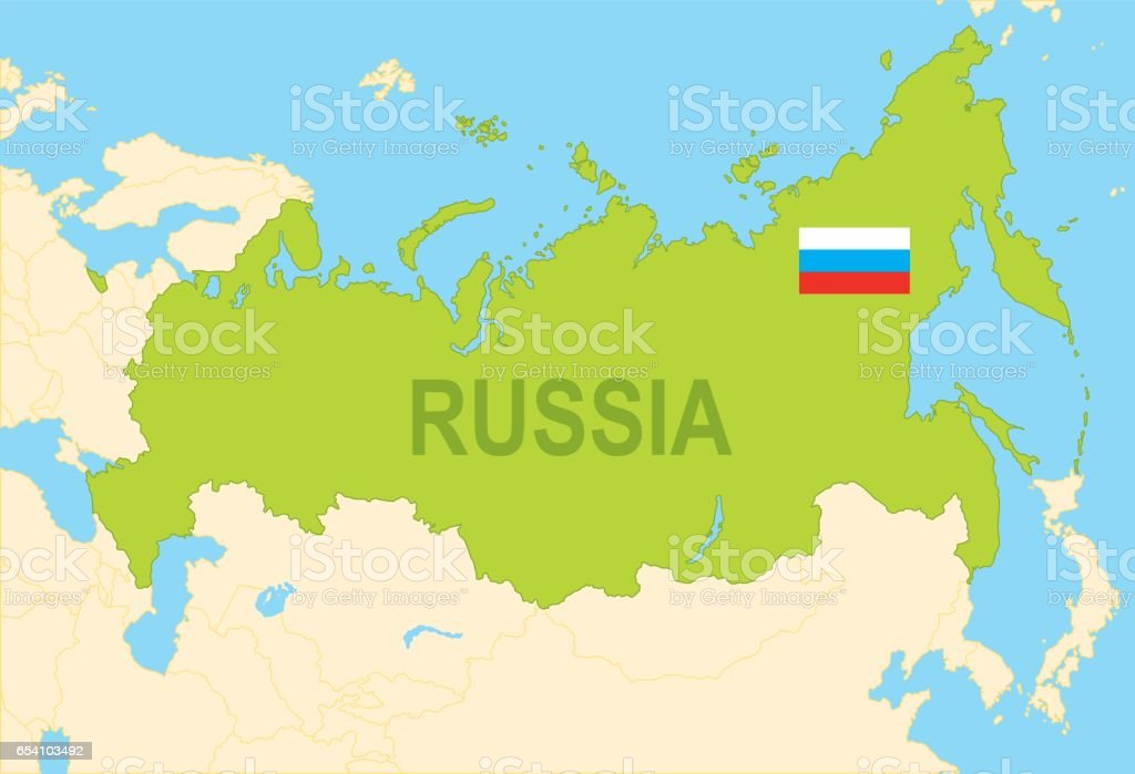 Flat Map Of Russia With Flag stock vector art 654103492 iStock