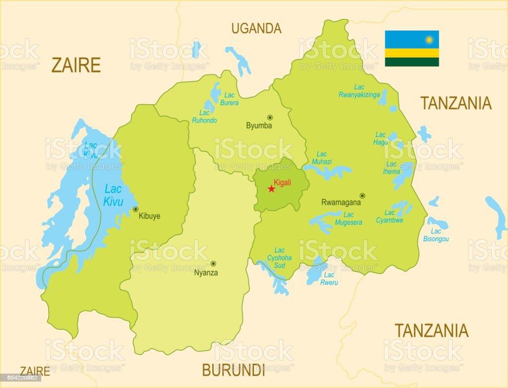 Flat map of Rwanda with flag vector art illustration
