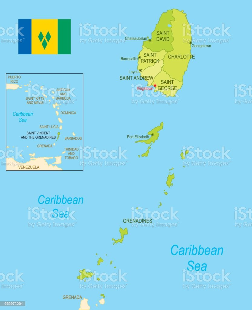 Flat Map Of Saint Vincent And The Grenadines With Flag Stock Vector ...
