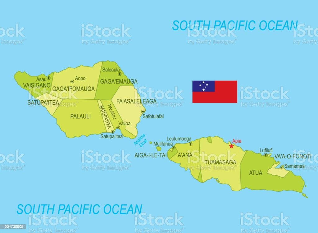 Flat Map Of Samoa With Flag Stock Vector Art More Images of Blue
