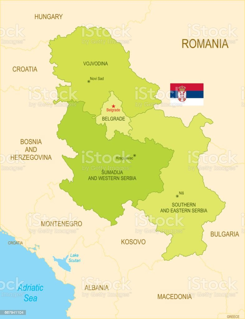 Flat map of Serbia with flag vector art illustration