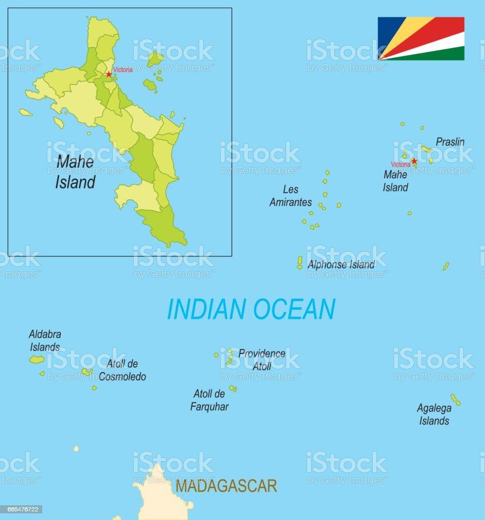 Karte Seychellen.Flache Karte Der Seychellen Mit Flagge Stock Vektor Art Und