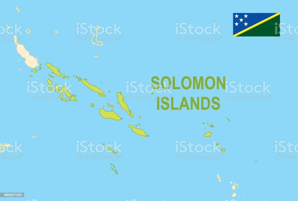 Flat Map Of Solomon Islands With Flag Stock Vector Art