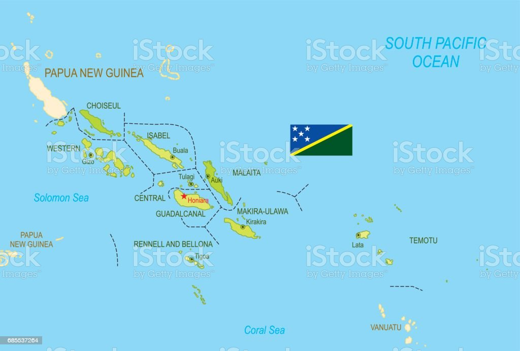 Flat Map Of Solomon Islands With Flag Stock Vector Art More Images
