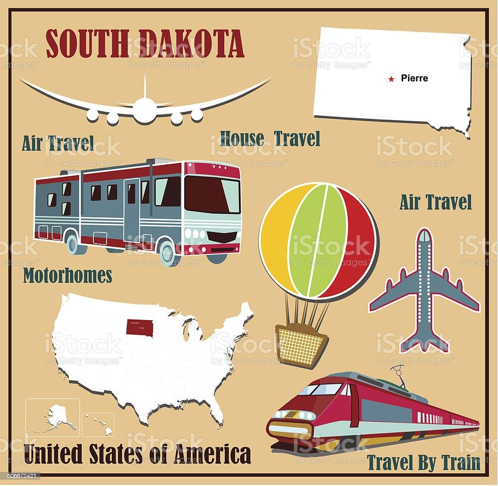 Flat map of South Dakota royalty-free flat map of south dakota stock vector art & more images of airplane
