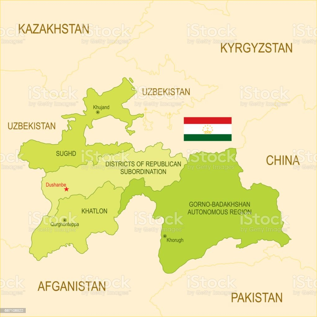 Flat Map Of Tajikistan With Flag Stock Vector Art & More Images of ...
