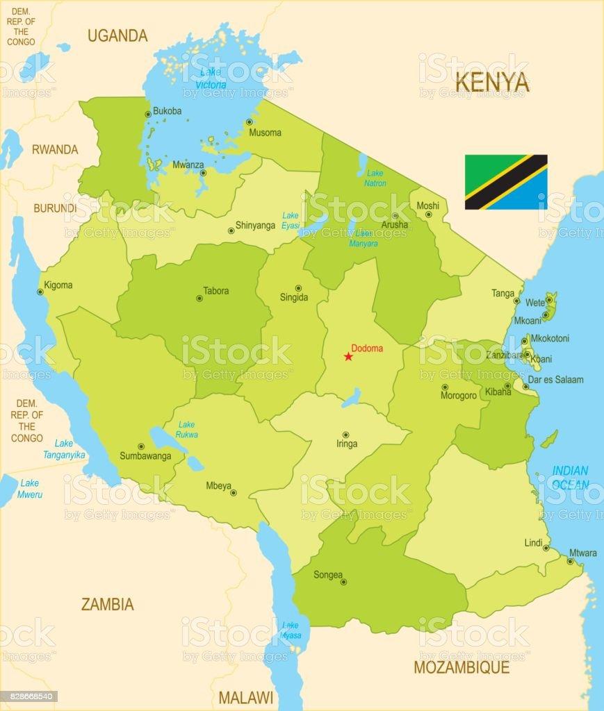 Flat Map Of Tanzania With Flag Stock Vector Art IStock - Map of tanzania
