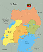 Detailed map of Uganda with surroundings, provinces, capital and flag.