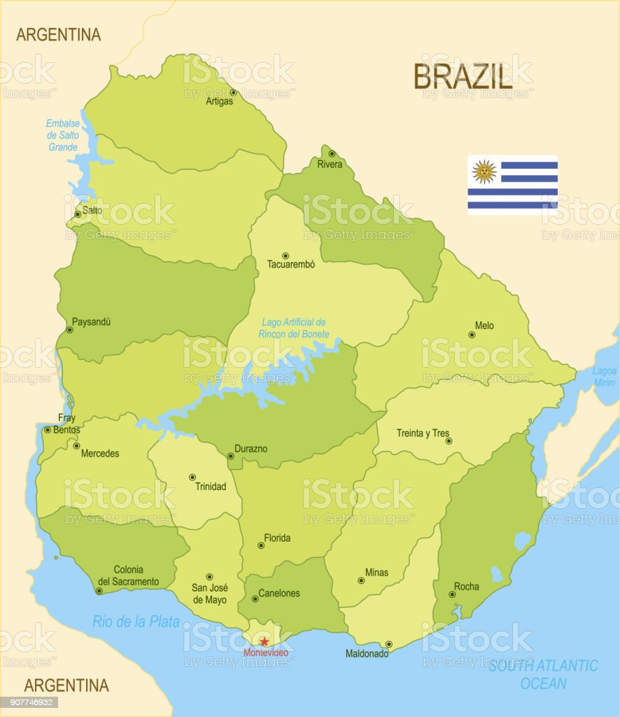 Flat map of Uruguay with flag vector art illustration