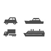 Flat rout map signs of land and water transport such car, truck, ship, barge on white. Flat graphic warning marks gps icons for mobile applications. Markers of station port, road for special vehicles