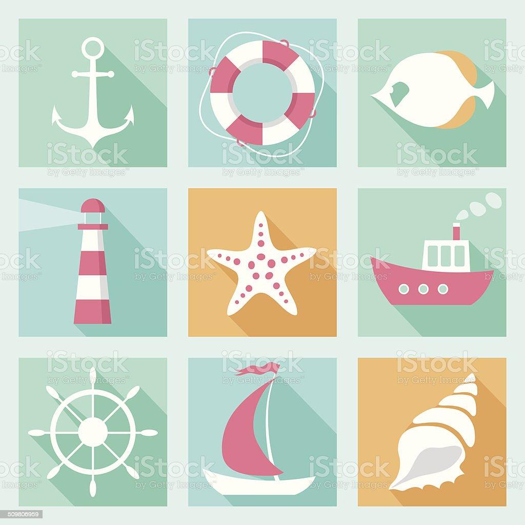 Flat marine icons set vector art illustration