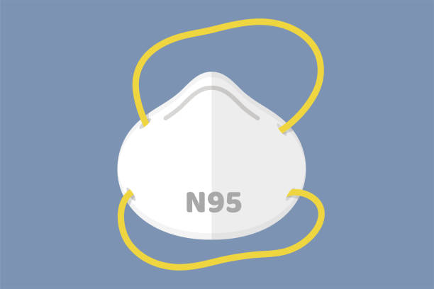 flat mask vector n95 respirator to prevent toxic fumes and dust between the small size of the air such as pm2.5. - face mask illustrations stock illustrations
