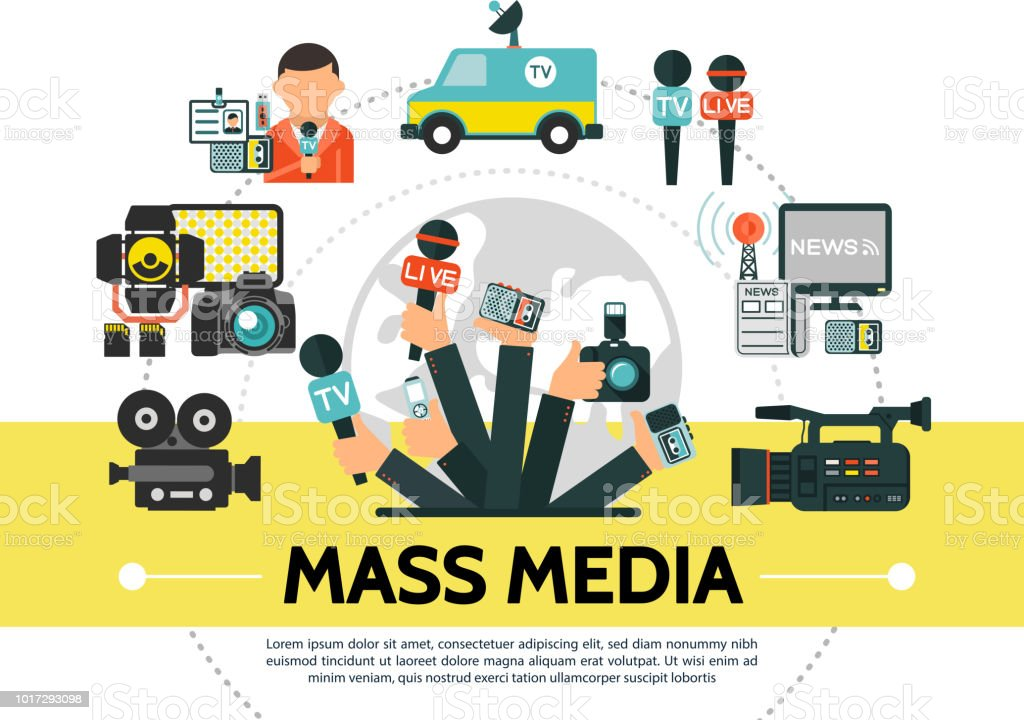 Flat Mass Media Concept Stock Illustration - Download Image Now - iStock
